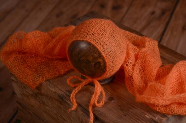Set Wrap aus Angora mit Mütze in Orange